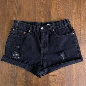Vintage Levi's 550 High Rise Distressed Shorts 34